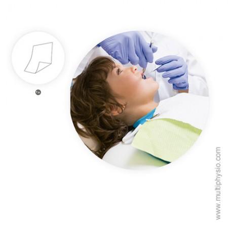 Babete dentário em Papel + PE  Azul | 100 unidades